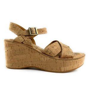 Kork Ease Ava Natural Cork Wedge Platform Sandals